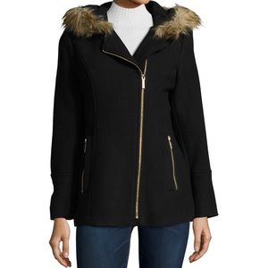 MICHAEL by Michael Kors Asymmetrical Faux Fur Coat